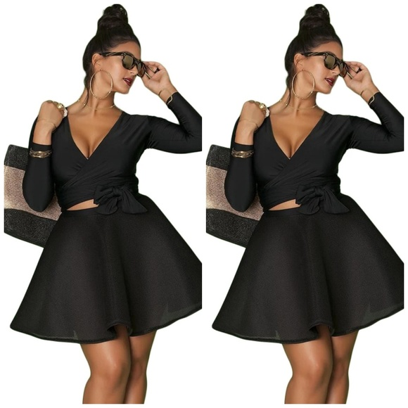 31d52a9ab38 Plus Size Sexy 2 Piece Skater Skirt Set